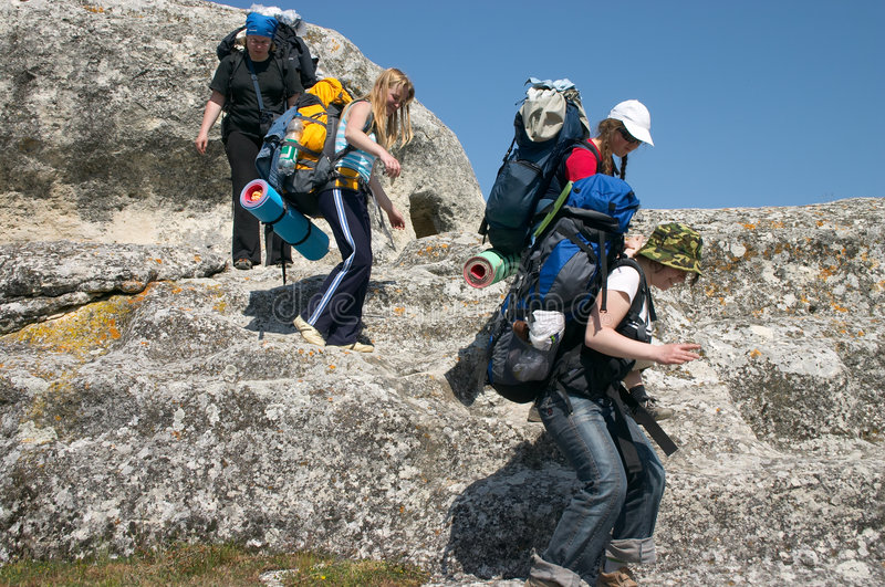 Tourist group in the mountains royalty free stock images