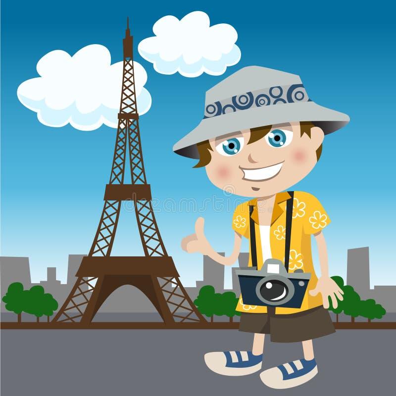 Tourist guy (eiffel tower) stock illustration