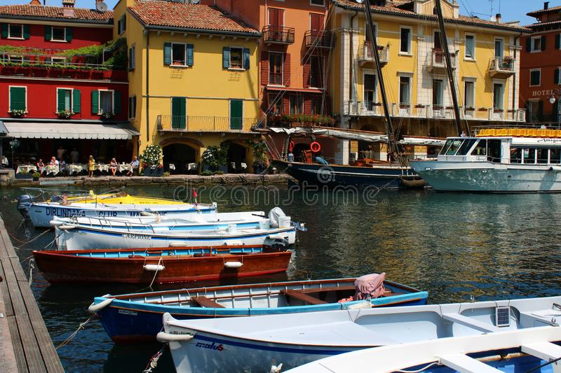 Tourist harbour in Malcesine at Garda Lake royalty free stock images