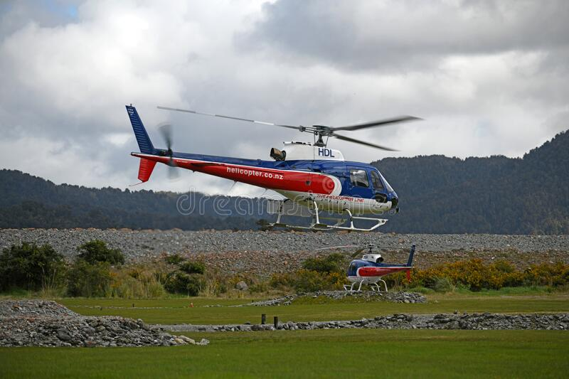 Tourist helicopters at Franz Josef stock photo