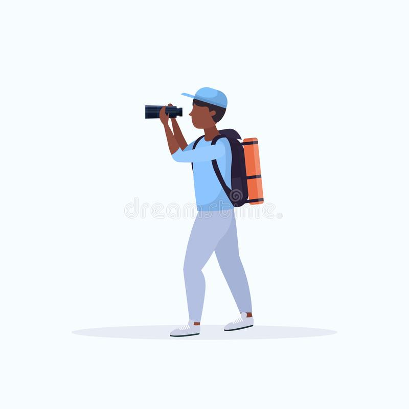 Tourist hiker with backpack looking through binoculars hiking concept african american traveler on hike full length flat stock illustration