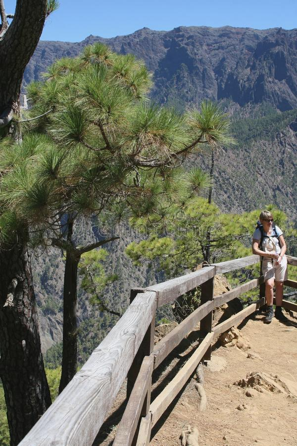 Tourist is hiking in La Caldera National Park at the island La Palma, Spain stock photo