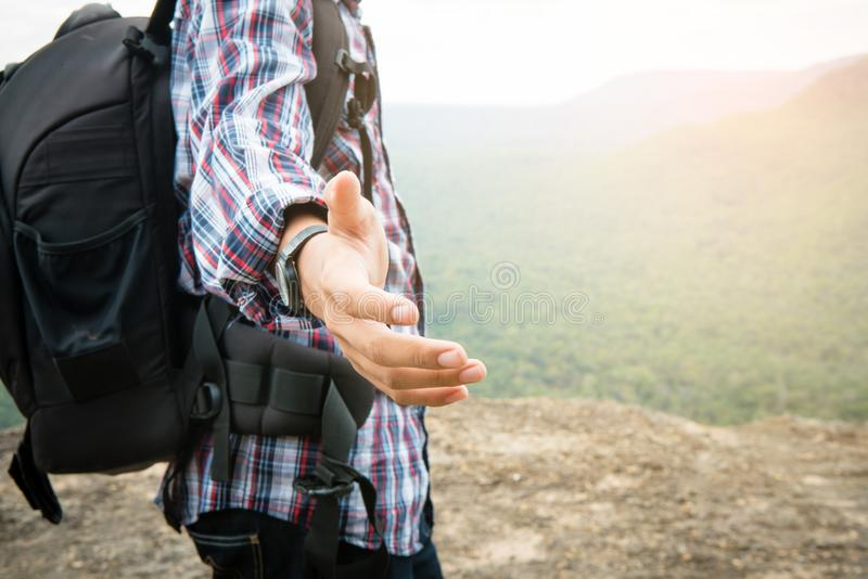 Tourist hold helping hand royalty free stock image