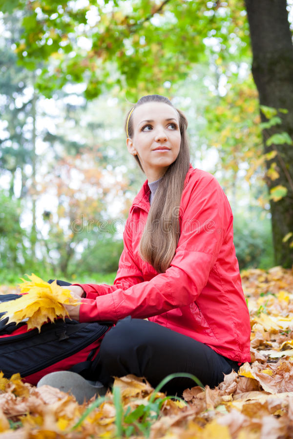 Download Tourist  Holds  Leaves In Hands Stock Photo - Image: 27135986