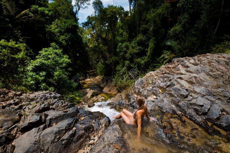 Tourist on Huai To waterfall stock photo