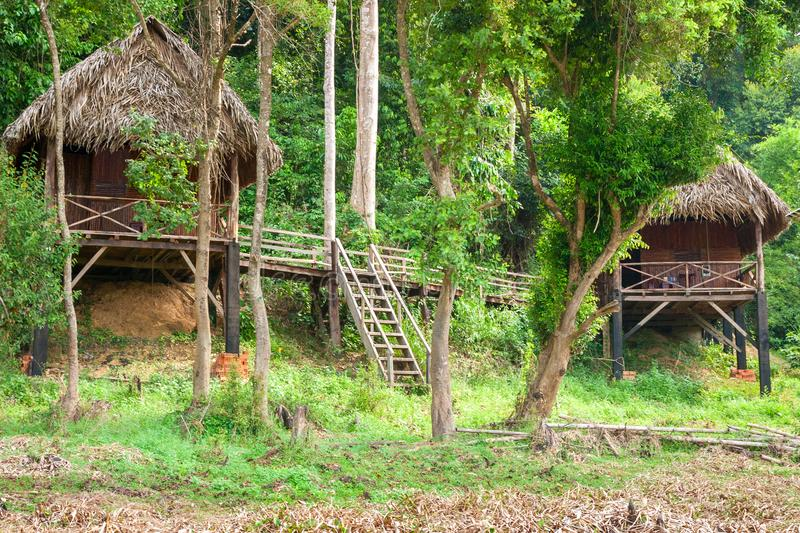 Tourist huts on the outskirts of the jungle near Bau Sau Crocodile Lake in Cat Tien National Park, Vietnam, Asia.  royalty free stock photos