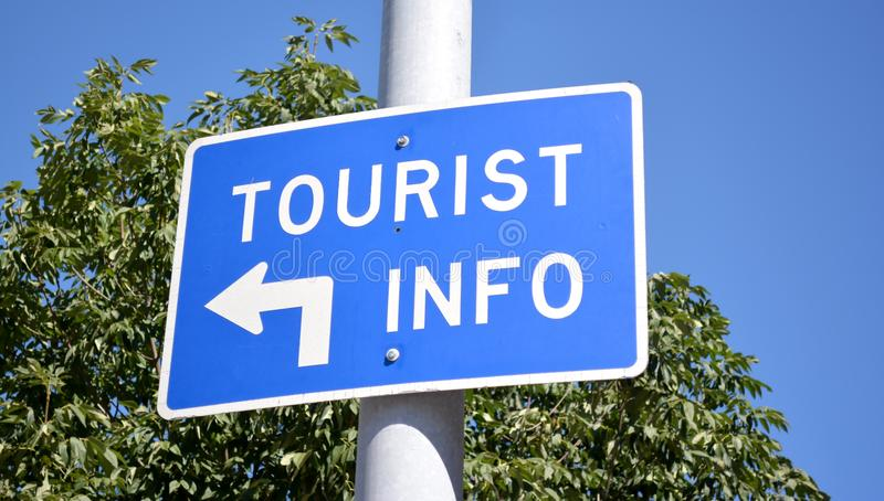Tourist Info Sign. Blue tourist information sign stock images