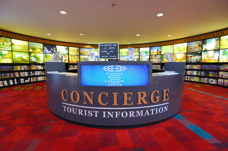 Tourist Information. Tourist info dest at Georgia World Congress Center September in Atlanta, GA, USA. The city is the seventh-most visited city in the United stock image