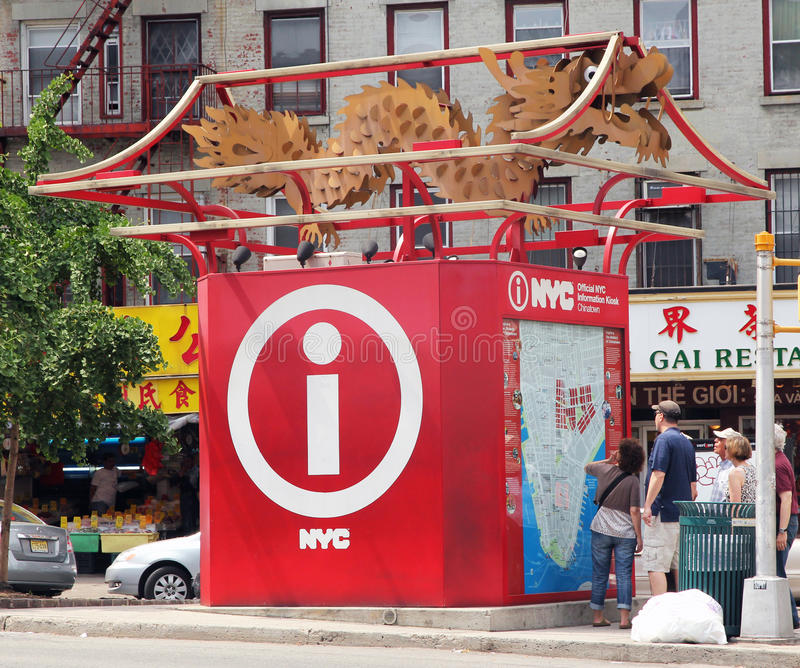 Tourist Information booth. With a dragon on the top, located in china town, nyc royalty free stock photo