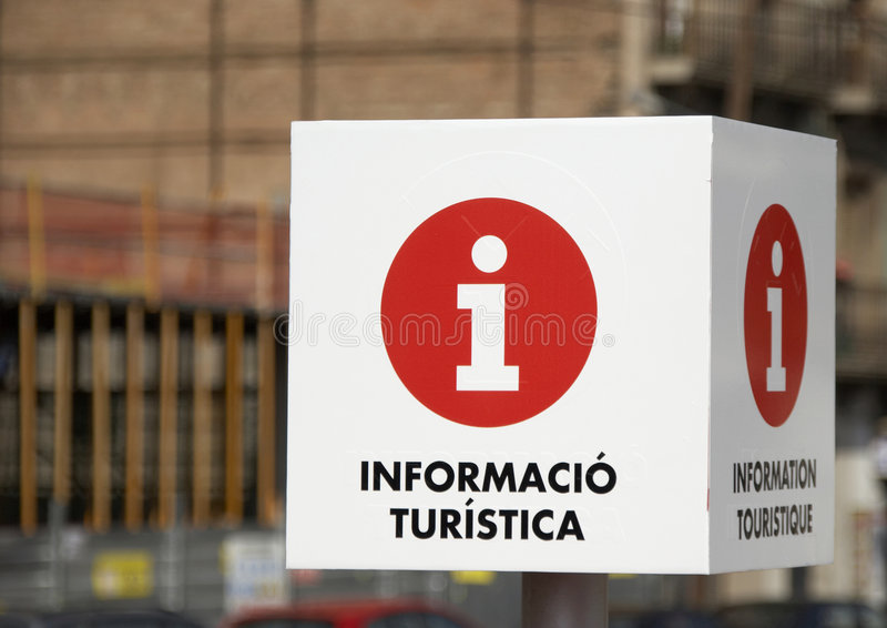 Tourist Information Sign. A Tourist Information sign captured in Barcelona, Spain stock photos