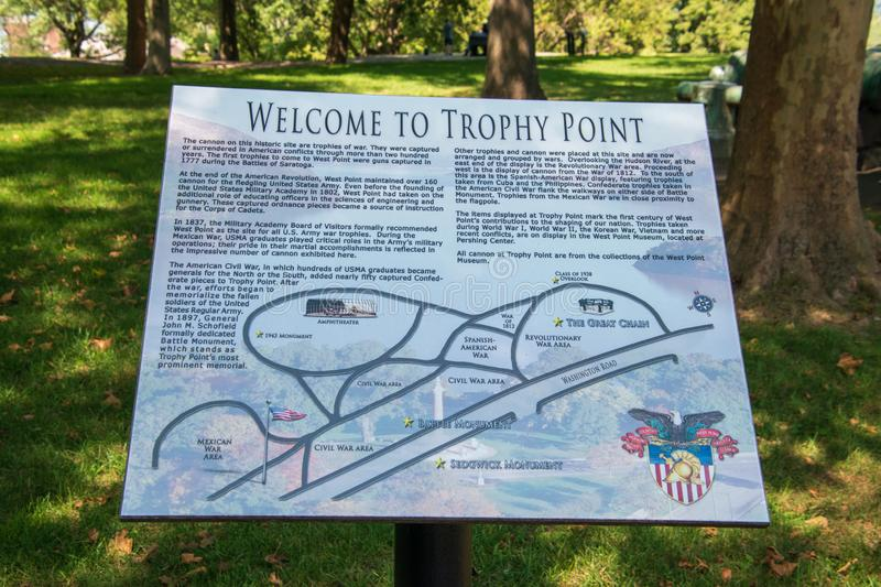 Tourist information sign seen at Trophy Point on the campus of West Point Military Academy pointing out the sights that can be. West Point, New York - August 30 stock photo