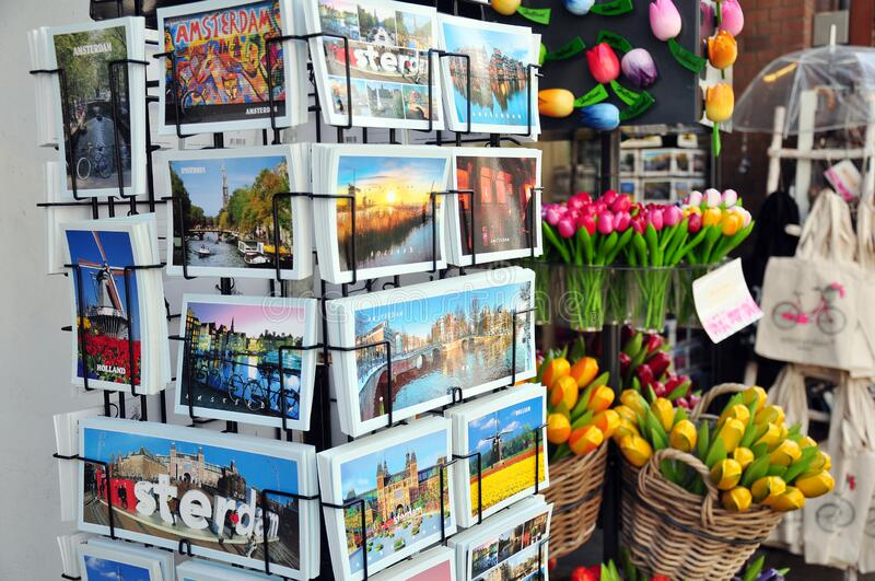 Tourist items, travel souvenirs, Amsterdam, the Netherlands stock images