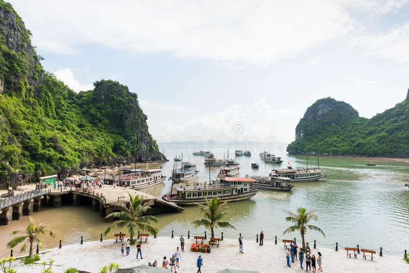 Tourist junks floating at Ha Long Bay stock photography