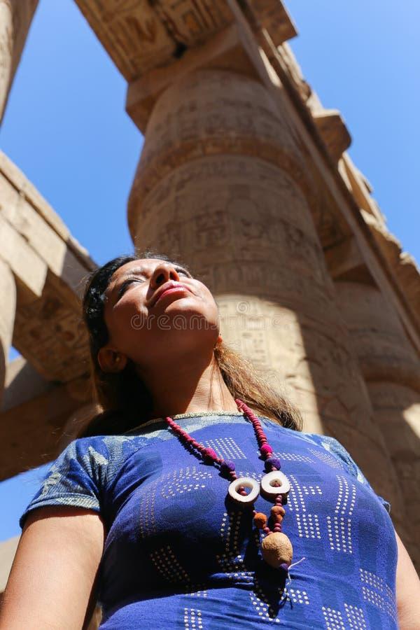 Tourist at Karnak Temple - Egypt. Karnak Temple at Luxor - Egypt Karnak temple - Most huge temple at Egypt stock photography