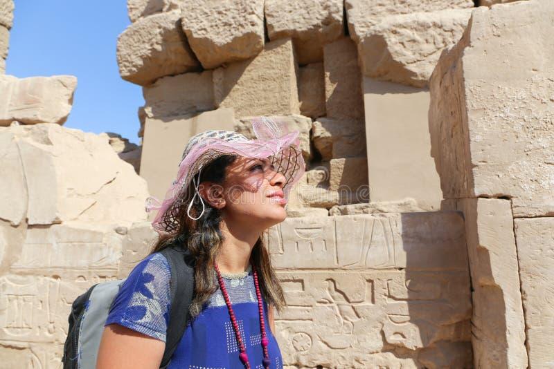 Tourist at Karnak Temple - Egypt. Karnak Temple at Luxor - Egypt Karnak temple - Most huge temple at Egypt royalty free stock images