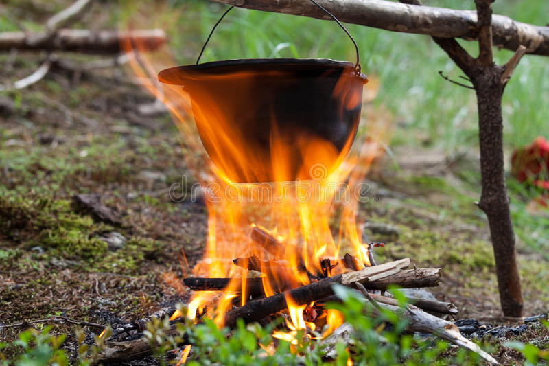 Download Tourist kettle on fire stock photo. Image of lifestyle - 32205154