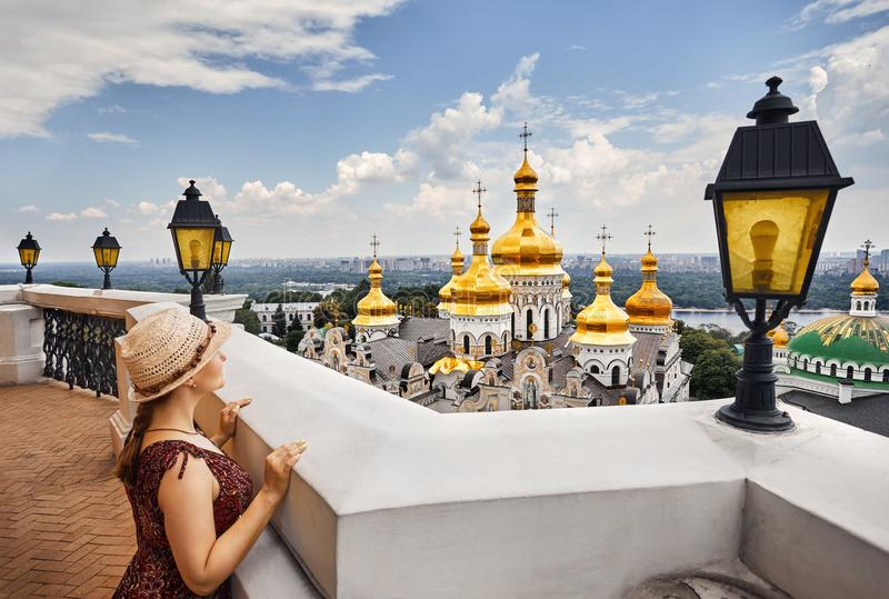 Tourist in Kiev Pechersk Lavra stock photos