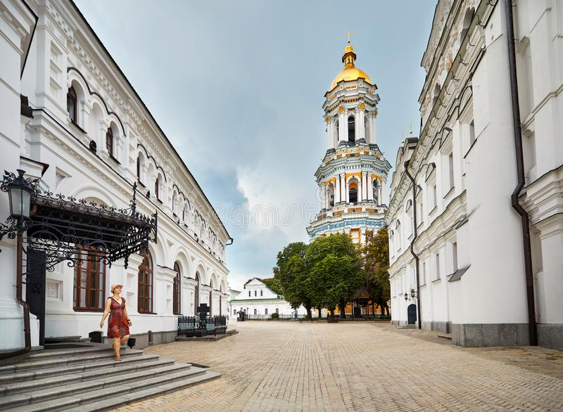 Tourist in Kiev Pechersk Lavra stock photo
