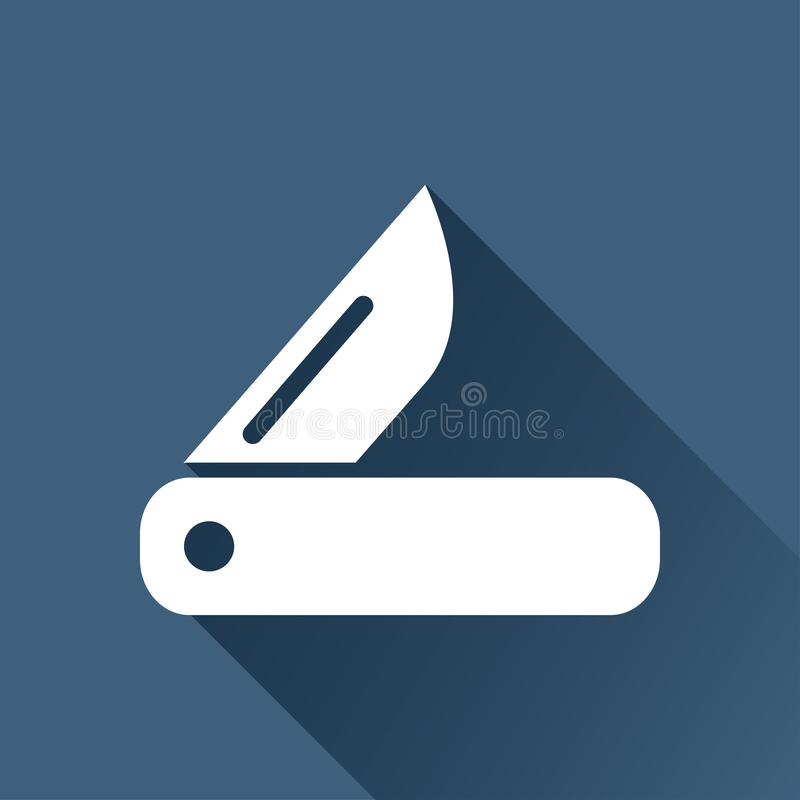 Tourist knife illustration. Traveling flat  icon. Tourist knife illustration. Traveling simple flat  icon royalty free stock images