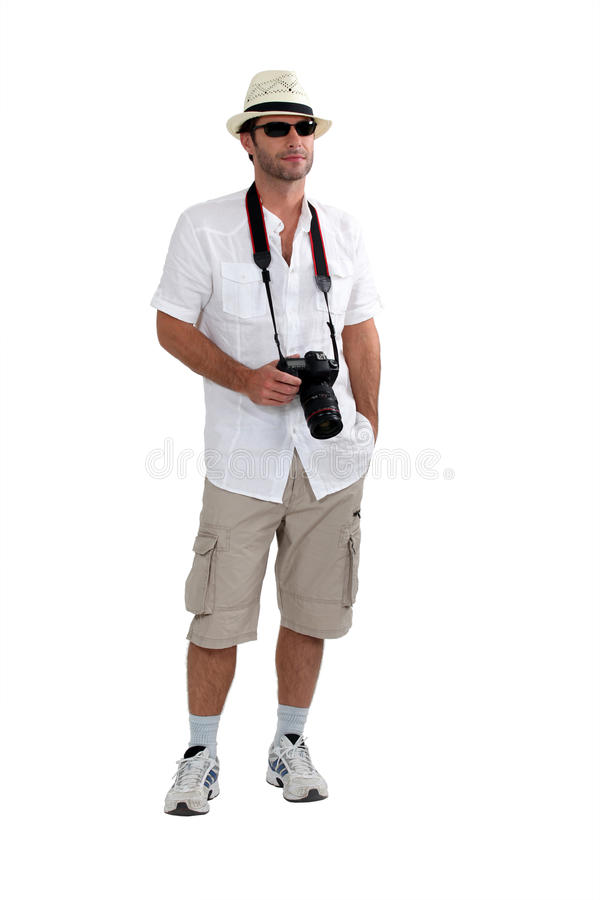 Tourist kurz gesagt mit Kamera stockfoto