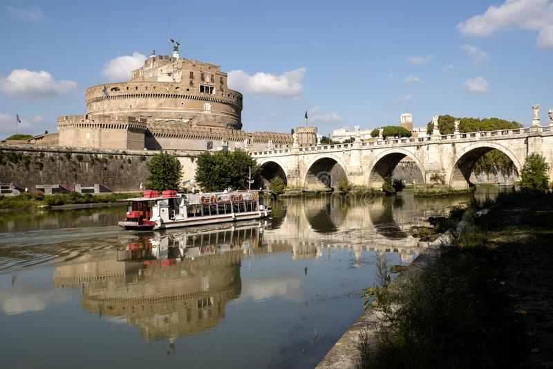 Tourist launch cruising the River Tiber, Rome royalty free stock image