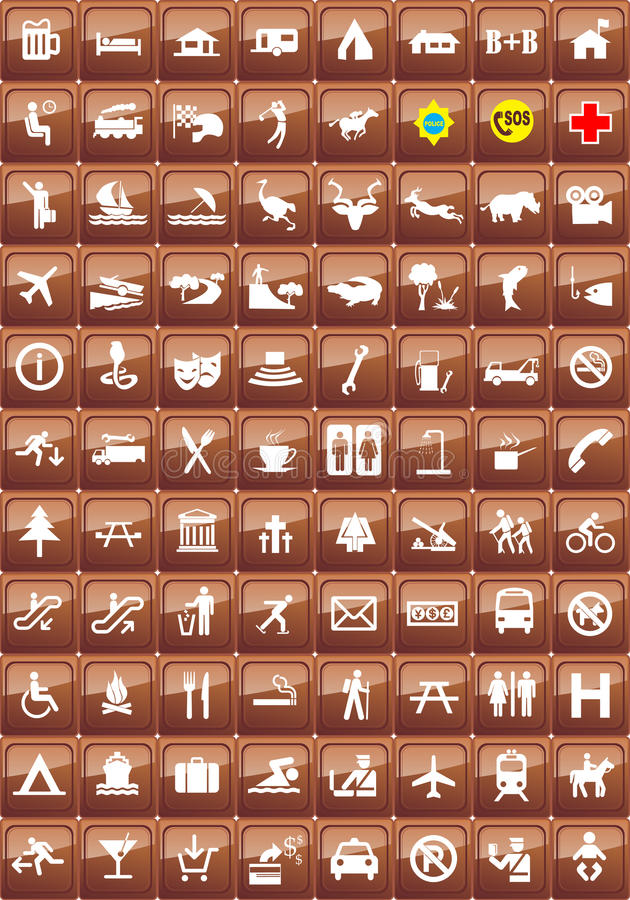 Tourist Locations Icon Set Stock Images