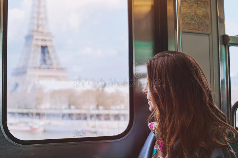 Tourist looking to the Eiffel Tower in Paris stock photography
