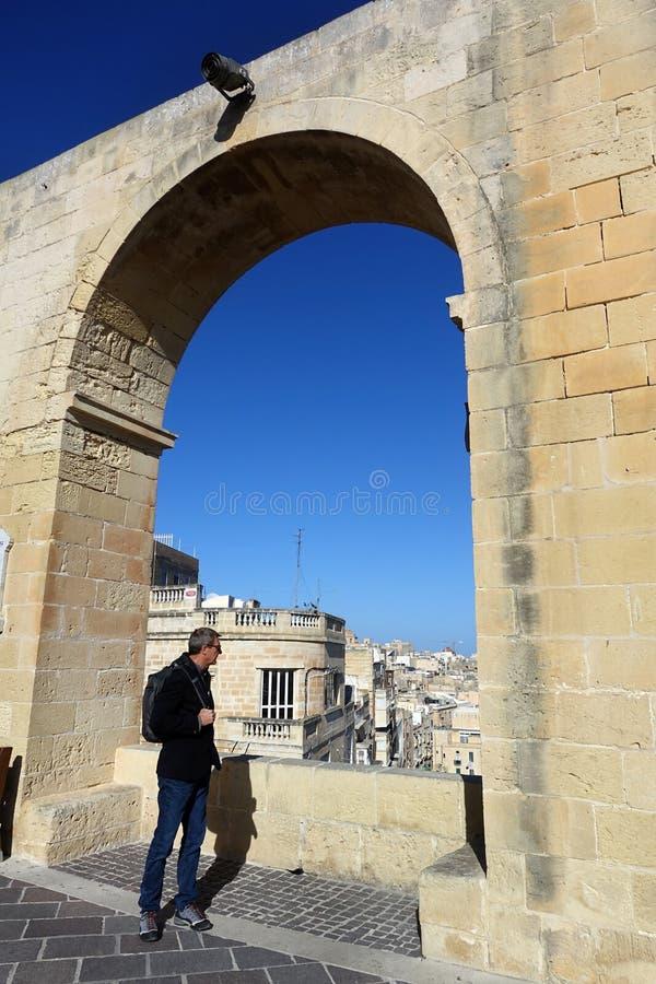 View Through Arch at the Upper Barrakka Gardens, Valletta, Malta stock photo