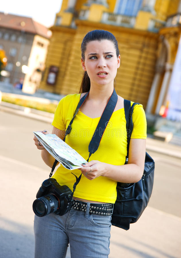 Tourist lost in the city royalty free stock photography
