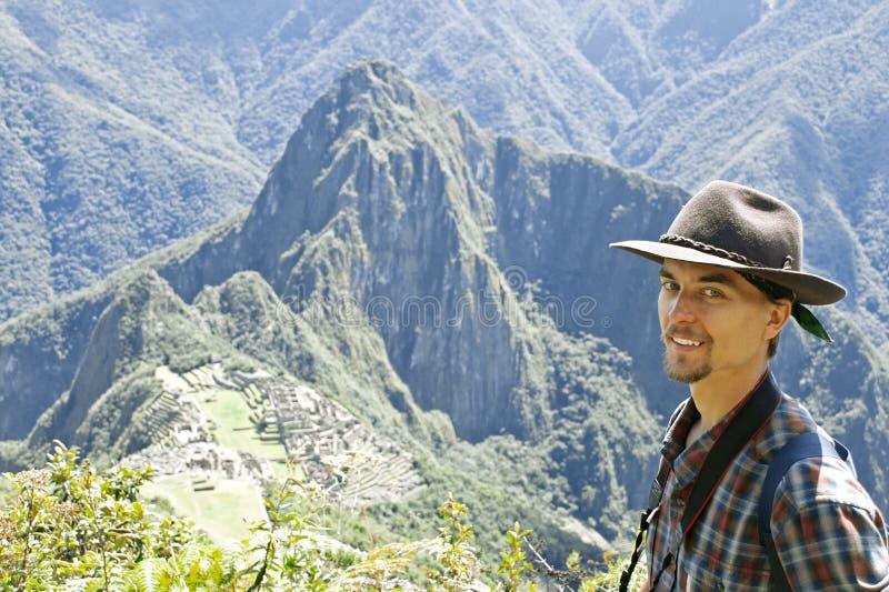 Tourist on Machu Picchu stock image