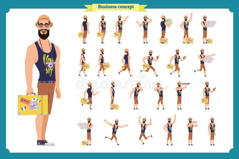 Tourist male, vacation traveller character creation set. Full length, views, emotions, gestures, white background. stock illustration