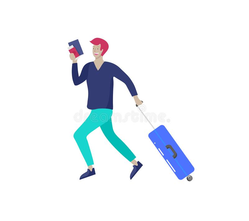 Tourist man with laggage travelling alone, go on journey. Traveler in various activity with luggage and equipment. Vector illustration vector illustration