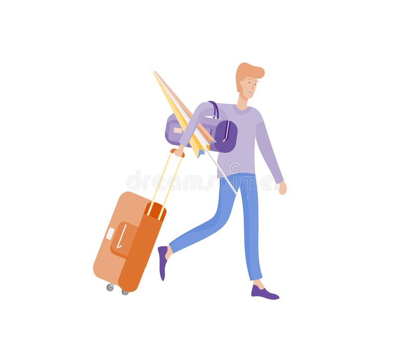 Tourist man with laggage travelling alone, go on journey. Traveler in various activity with luggage and equipment. Vector illustration royalty free illustration