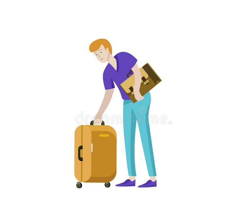 Tourist man with laggage travelling alone, go on journey. Traveler in various activity with luggage and equipment. Vector illustration stock illustration