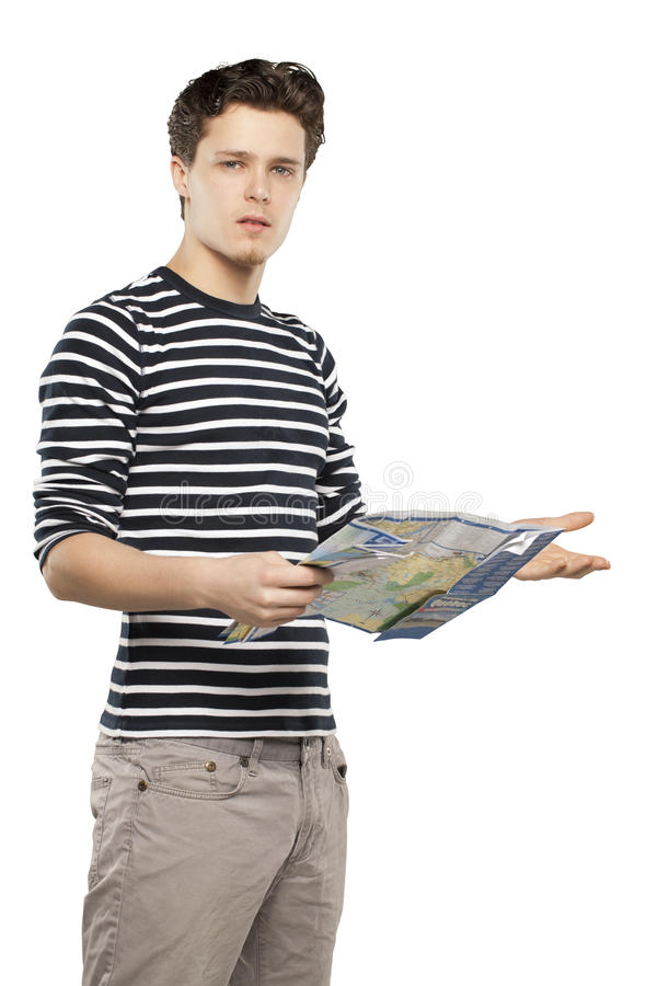 Free Tourist Man Looking At Map Stock Photography - 31718022