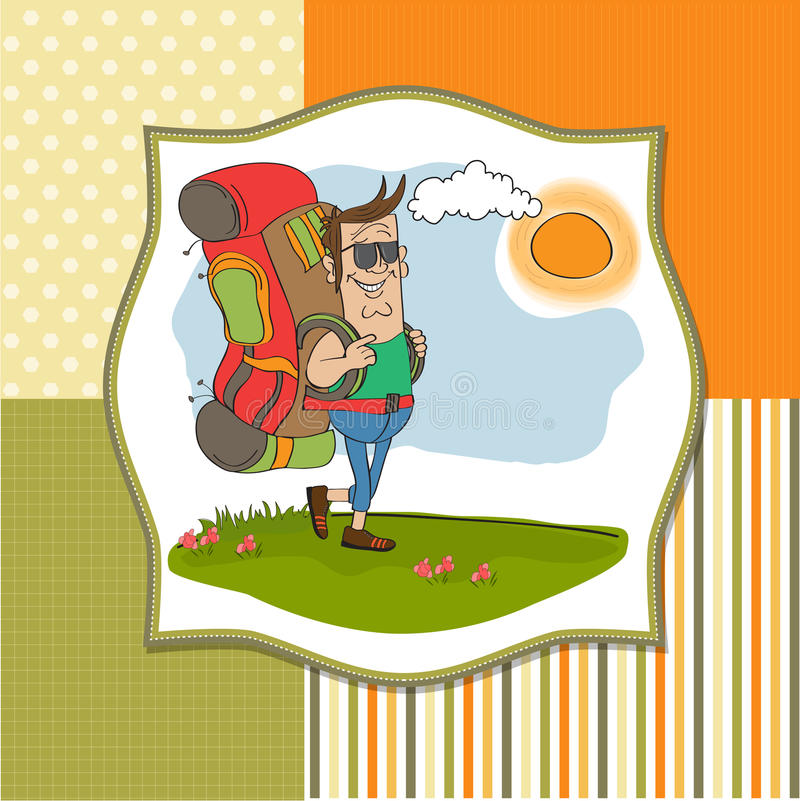 Tourist Man Traveling With Backpack Royalty Free Stock Photos