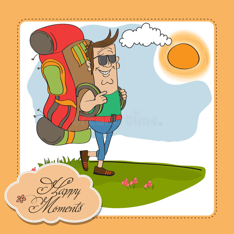 Download Tourist Man Traveling With Backpack Stock Illustration - Image: 25298945