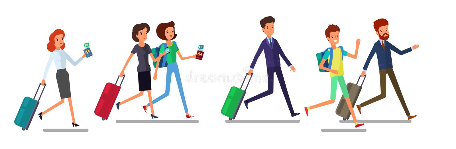 Tourist man and woman running. Traveling people in trip wear with luggage hurry, late for plane or registration. Front royalty free illustration