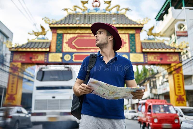 Traveler on city street stock image