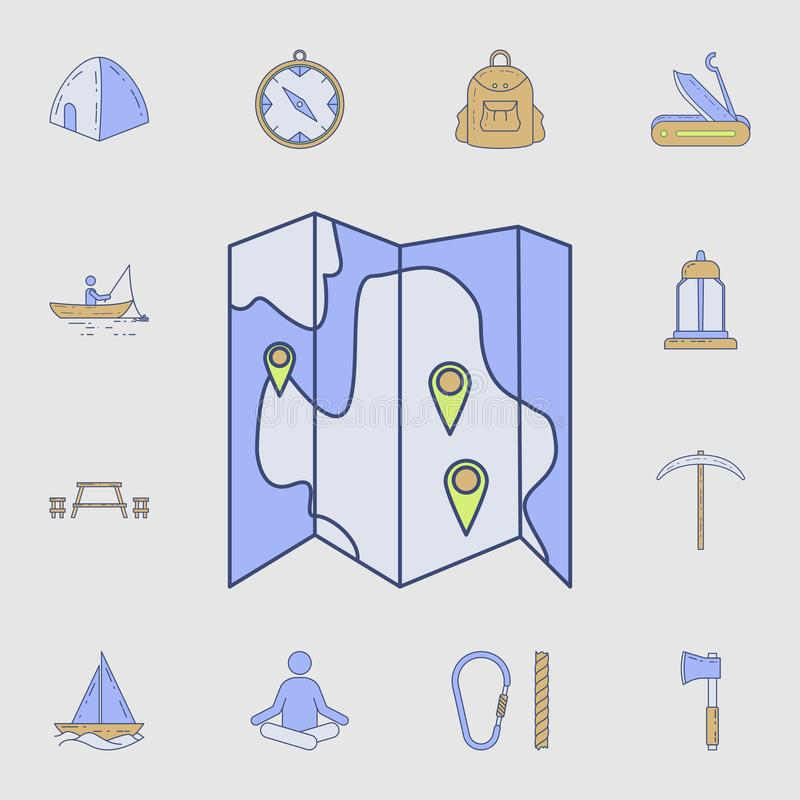 Tourist map icon. Detailed set of color camping tool icons. Premium graphic design. One of the collection icons for websites, web. Design, mobile app on gray vector illustration