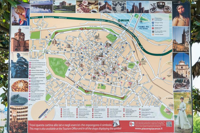 Tourist Map Of The Medieval City Of Piacenza Italy Editorial Stock