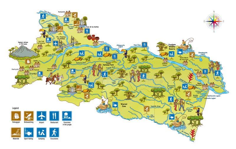 download tourist map of the province of orellana in the amazon region of ecuador stock vector