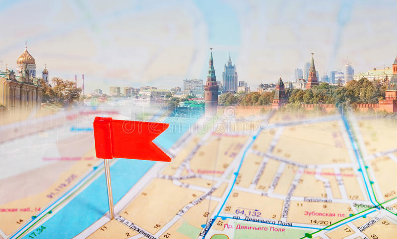 Tourist Map And Red Tag Royalty Free Stock Photography