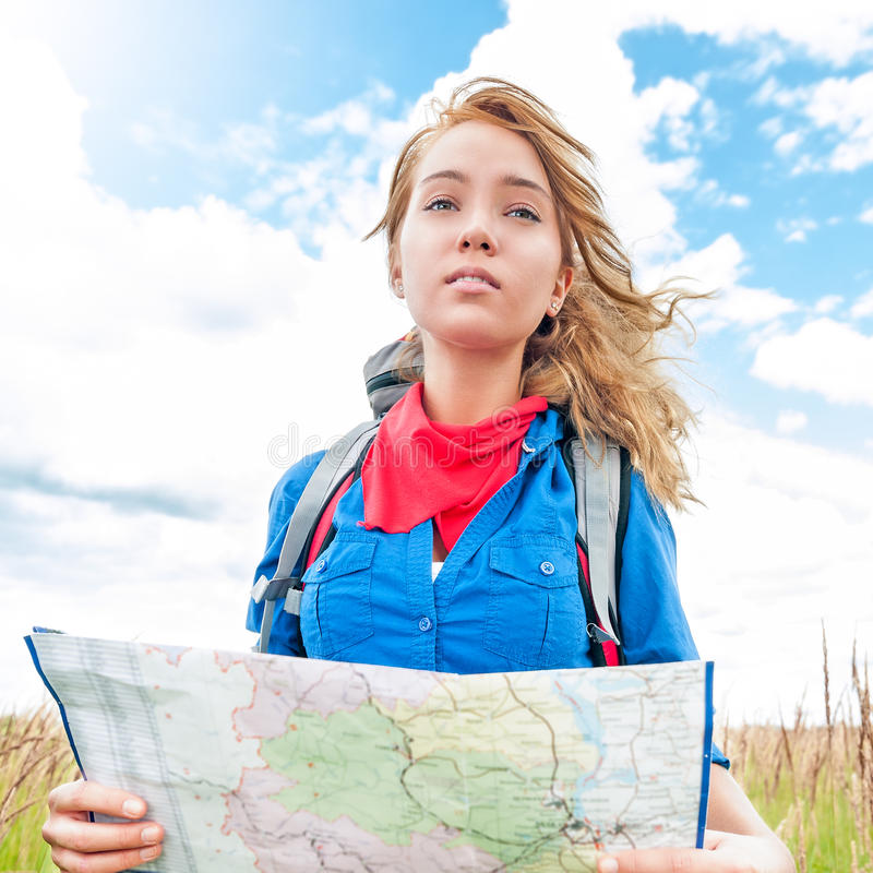 Download Tourist With Map In Summer Field. Stock Photo - Image: 27566062
