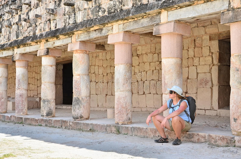 Download Tourist in Mayan ruins stock image. Image of pyramids - 20453289