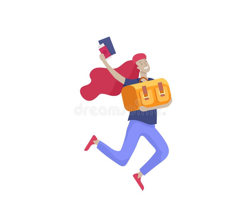 Tourist men with laggage travelling alone, go on journey. Traveler in various activity with luggage and equipment. Tourist woman with laggage travelling alone stock illustration