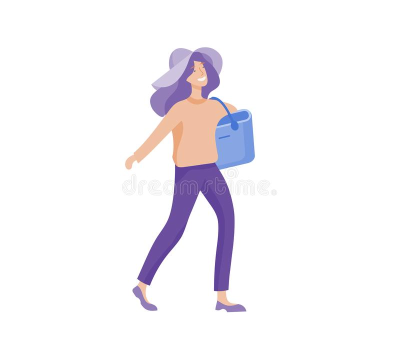 Tourist men with laggage travelling alone, go on journey. Traveler in various activity with luggage and equipment. Tourist woman with laggage travelling alone vector illustration