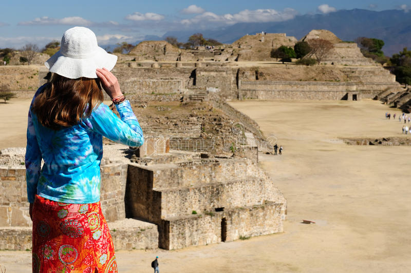Tourist in Mexico. Tourist travelling all over Mexico visiting ruins of the ancient city Monte Alban near Oaxaca city, Mexico royalty free stock images