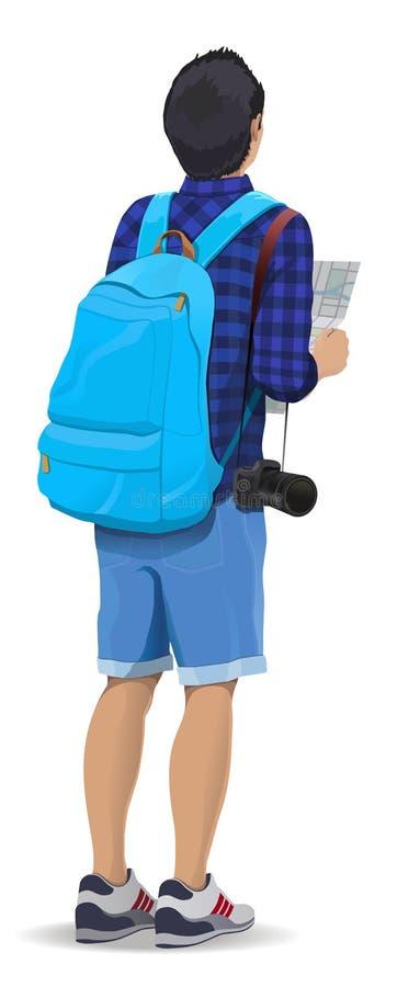 Tourist mit einem Rucksack vektor abbildung