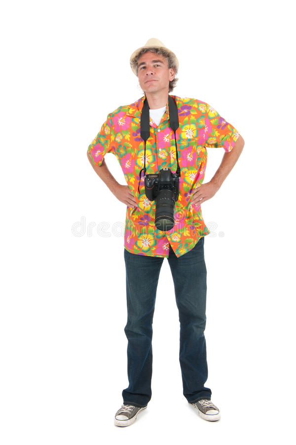 Tourist mit großer Kamera und Rucksack stockfotografie